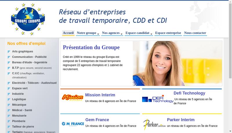 Capture d'écran du site de Europa Finance