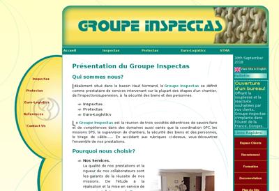 Capture d'écran du site de Inspectas