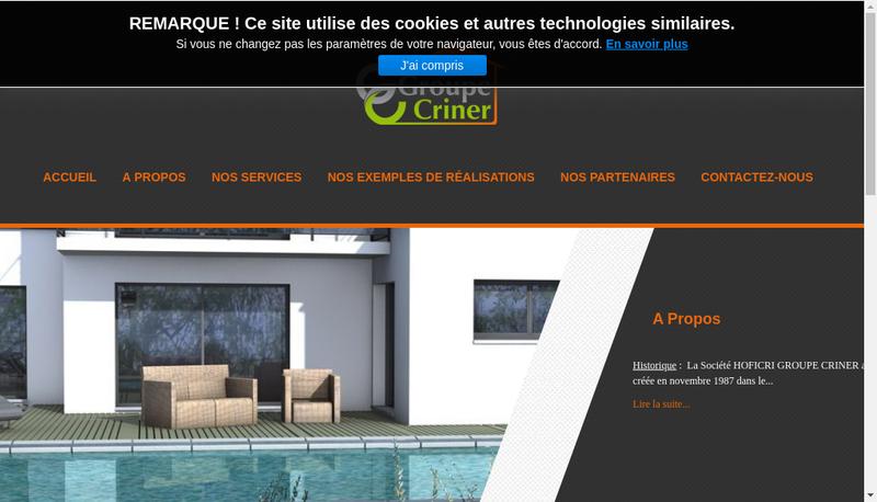 Capture d'écran du site de Hoficri Groupe Criner