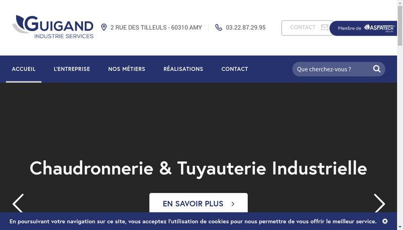 Capture d'écran du site de Guigand Industries Services
