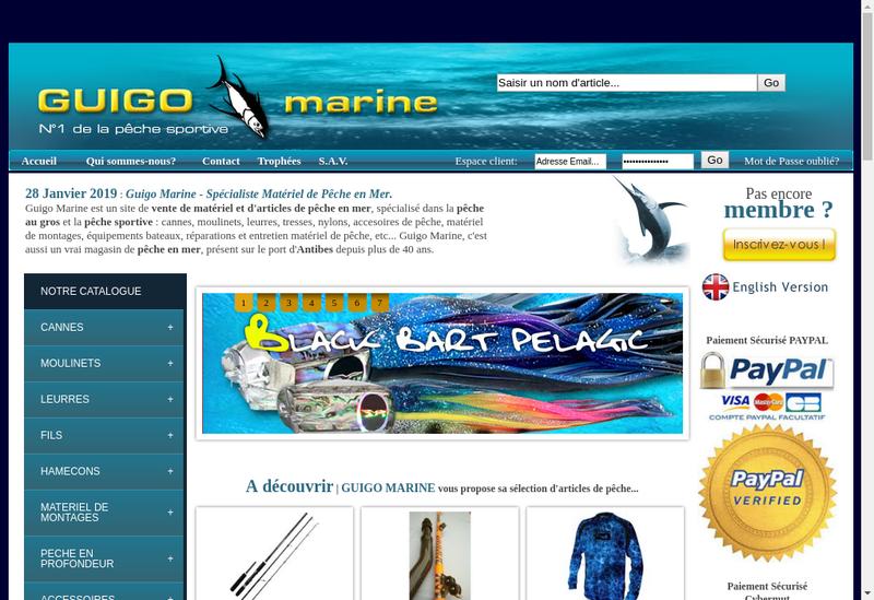 Capture d'écran du site de Guigo Marine