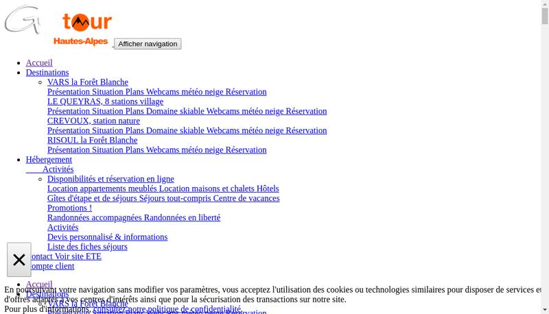 Capture d'écran du site de Guiltour / Crevouxtour