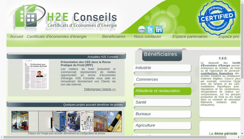 Capture d'écran du site de H2E Conseils