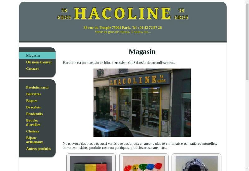 Capture d'écran du site de Hacoline