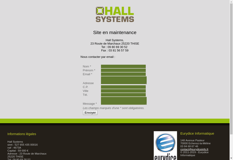 Capture d'écran du site de Hall Systems