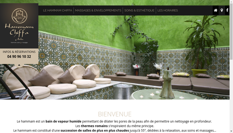 Capture d'écran du site de Hammam Chifa