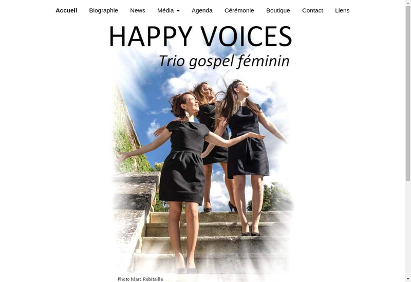 Capture d'écran du site de Happy Voices
