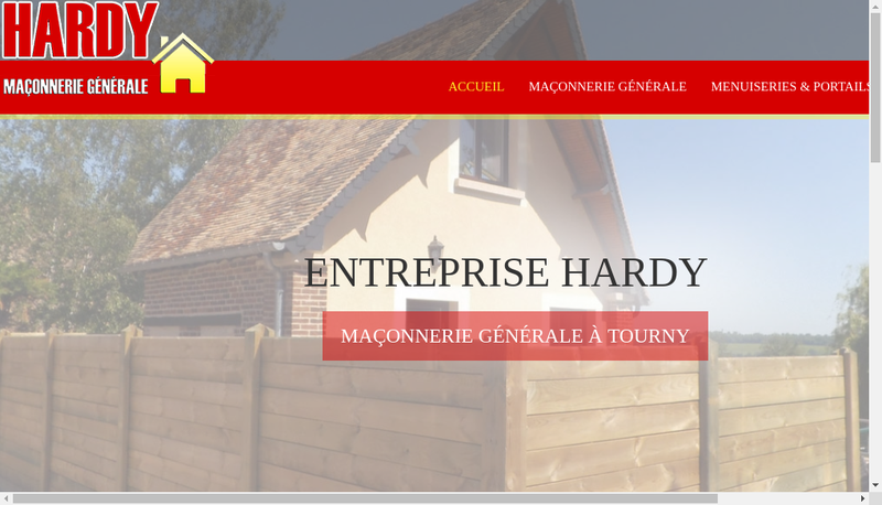 Capture d'écran du site de Hardy