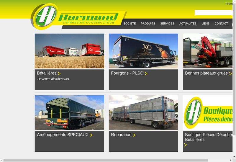 Capture d'écran du site de Harmand et Fils
