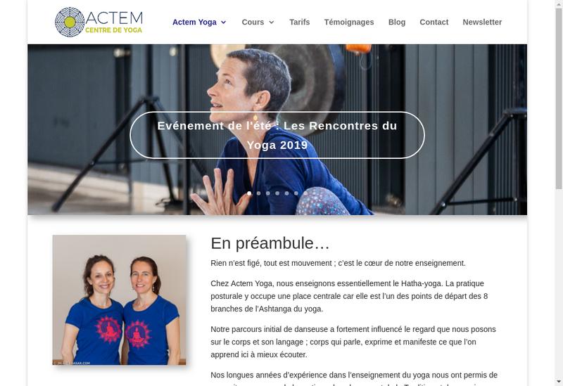 Capture d'écran du site de Actem Yoga
