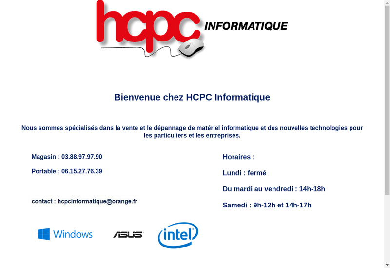 Capture d'écran du site de Hcpc Informatique