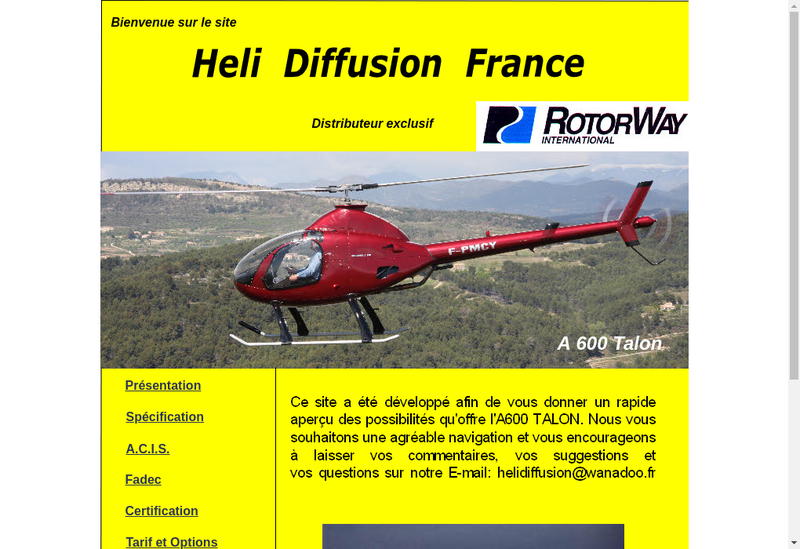 Capture d'écran du site de Heli Diffusion France