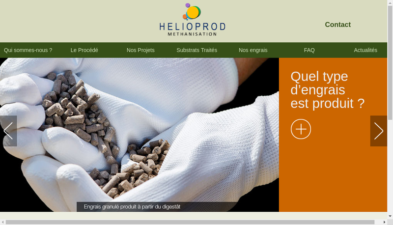 Capture d'écran du site de Helioprod Methanisation