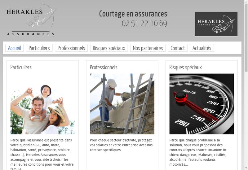 Capture d'écran du site de Herakles Assurances
