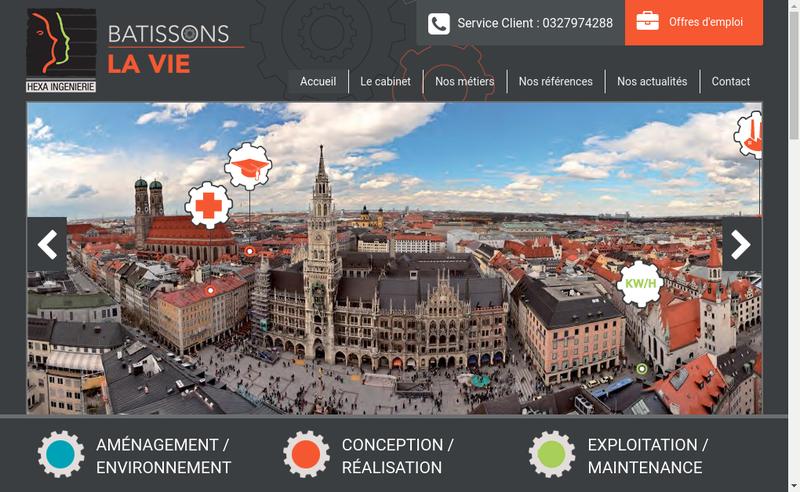 Capture d'écran du site de Hexa-Ingenierie