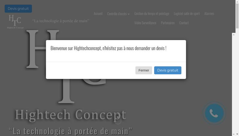 Capture d'écran du site de Hightech Concept