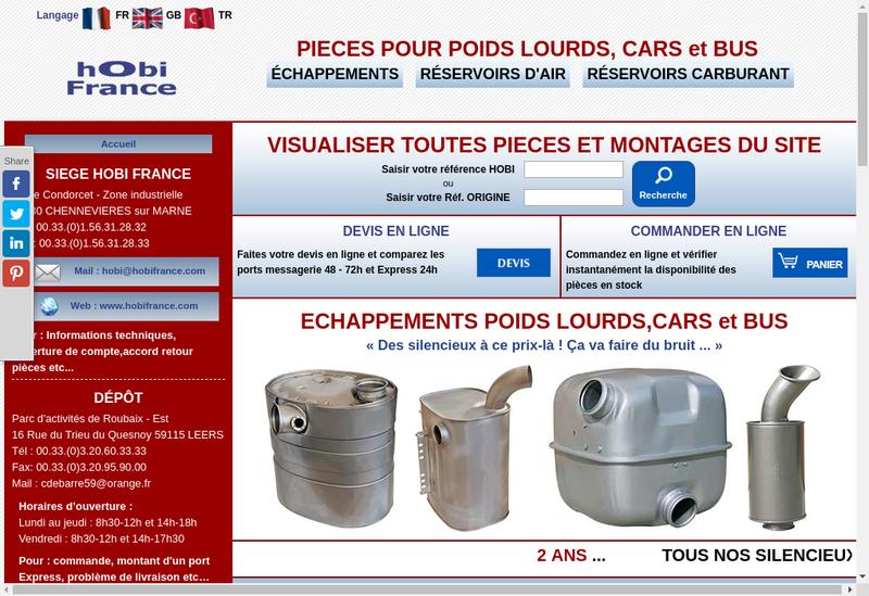 Capture d'écran du site de Hobi France