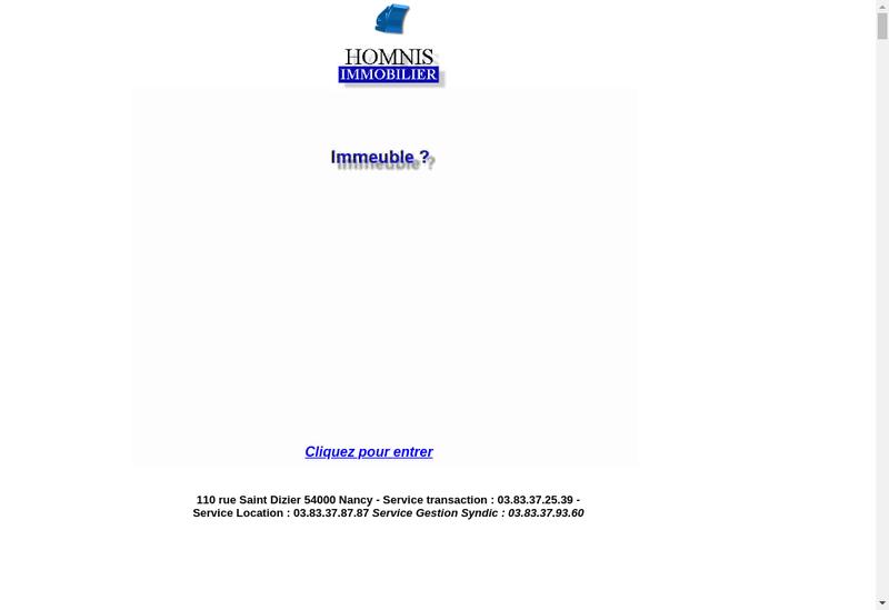 Capture d'écran du site de Homnis Gestion
