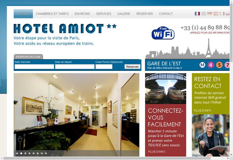 Capture d'écran du site de Hotel Amiot