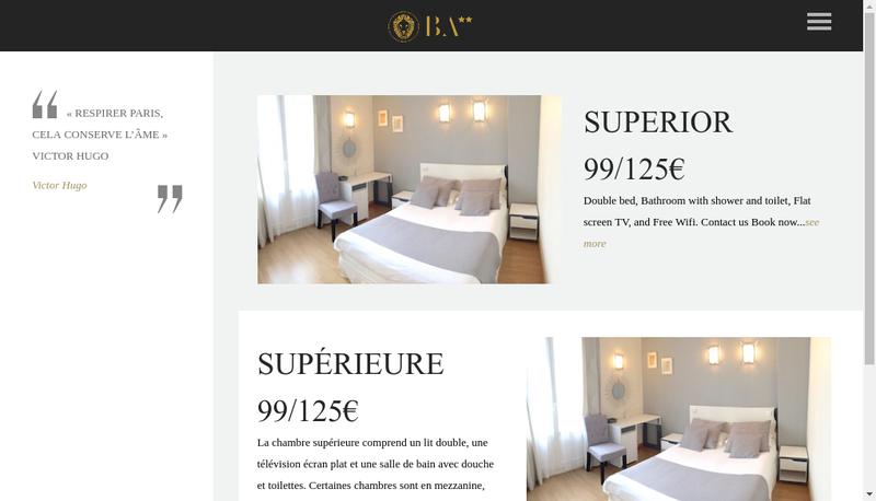 Capture d'écran du site de Hotel des Beaux Arts