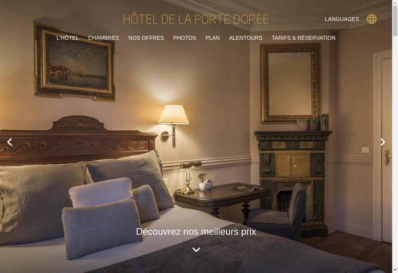 Capture d'écran du site de Hotel de la Porte Doree