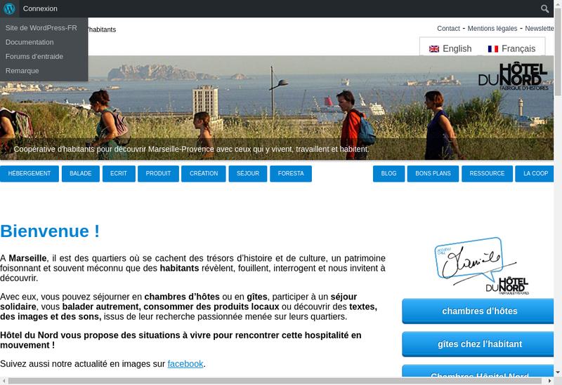 Capture d'écran du site de Hotel du Nord