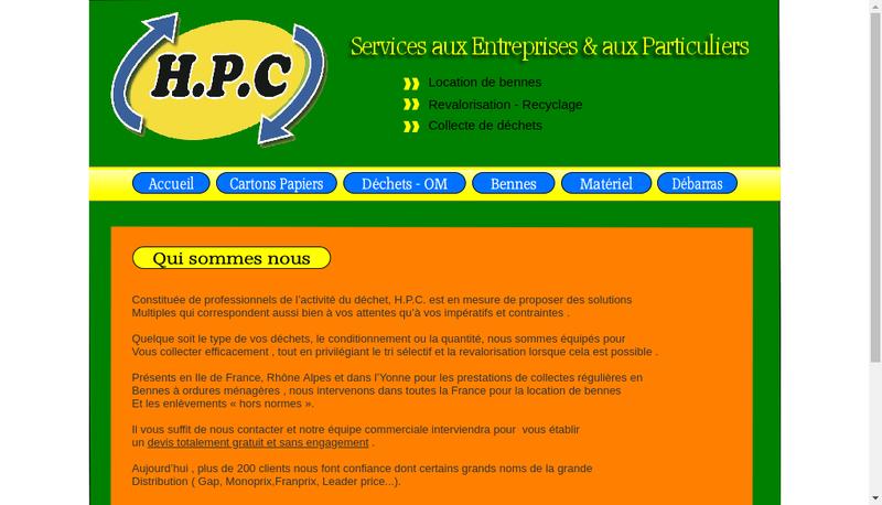 Capture d'écran du site de HPC