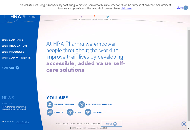 Capture d'écran du site de Hra Pharma France