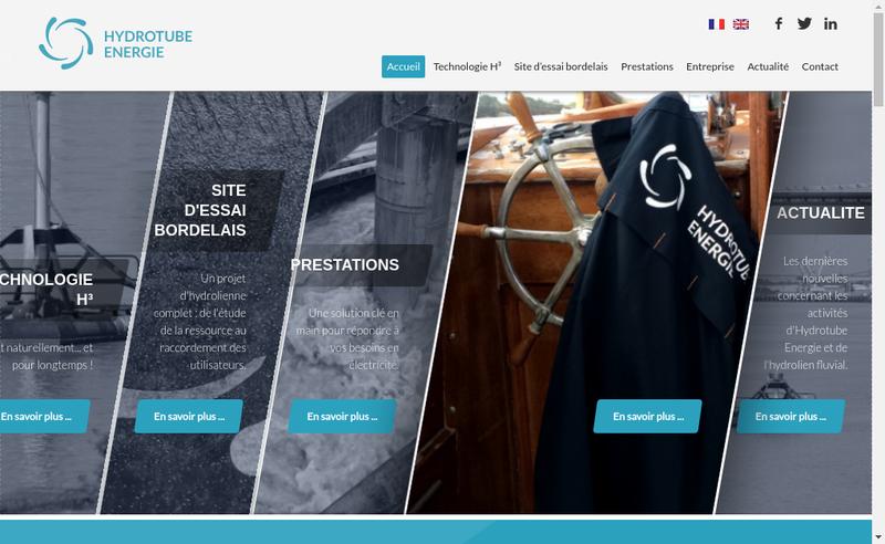 Capture d'écran du site de Hydrotube Energie