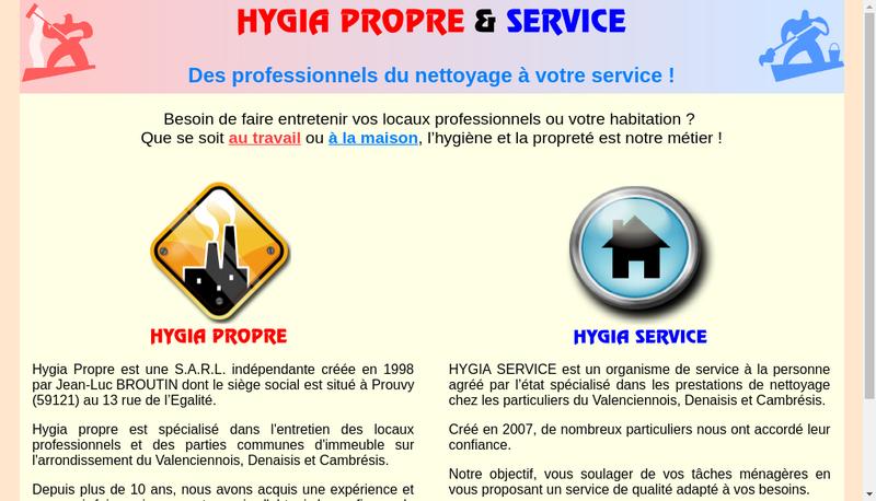 Capture d'écran du site de Hygia Propre