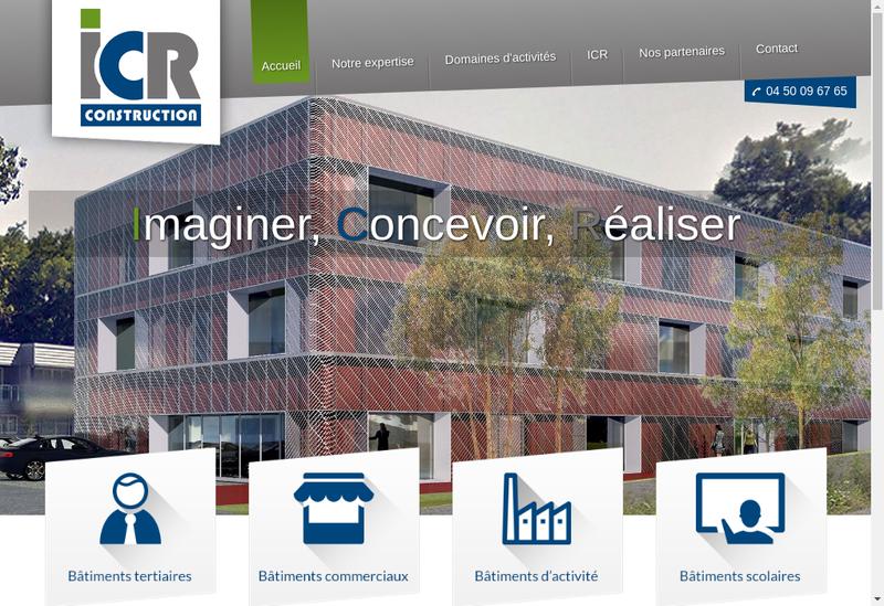 Capture d'écran du site de ICR Construction