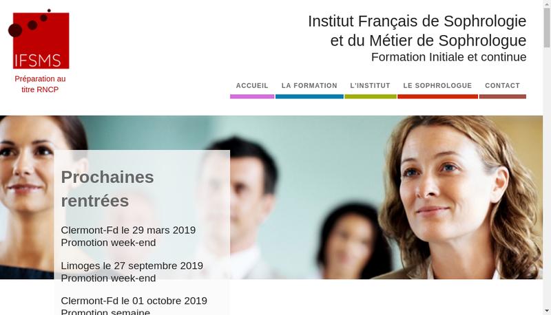 Capture d'écran du site de Ifsms - Institut Francais de Sophro