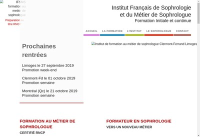 Site internet de Ifsms - Institut Francais de Sophro Logie et du Metier de Sophrologue