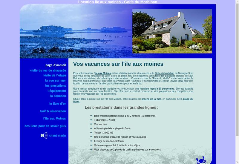 Capture d'écran du site de Ile aux Moines Locations