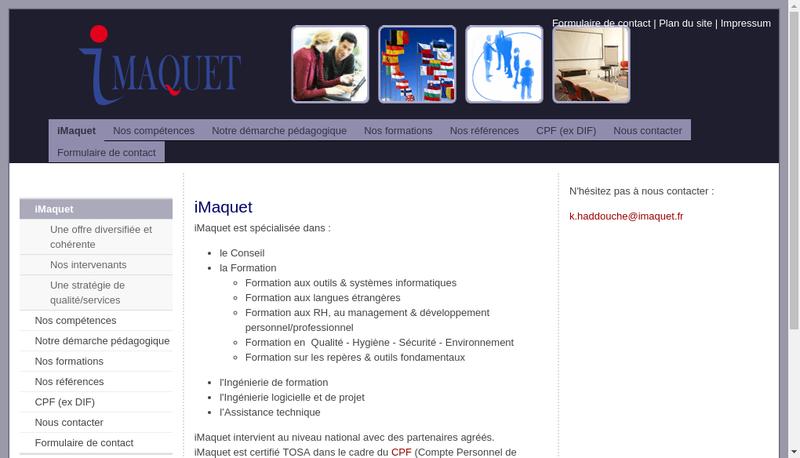 Capture d'écran du site de Imaquet