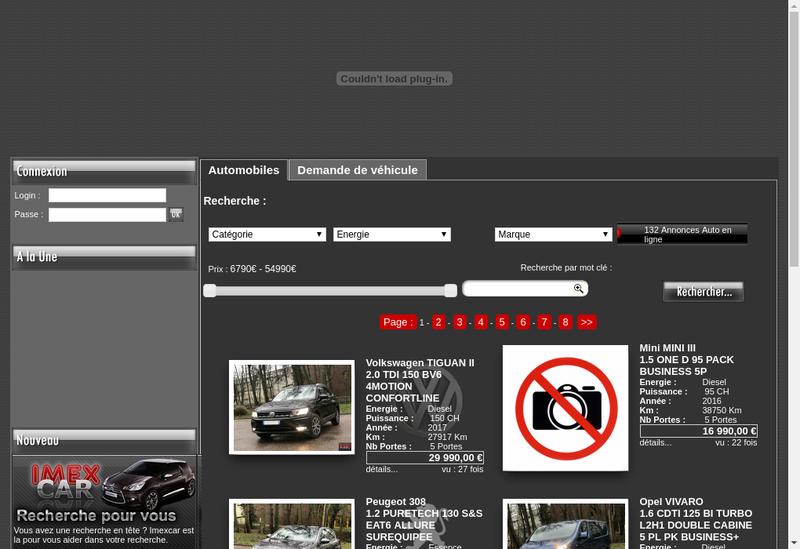 Capture d'écran du site de Imex Car
