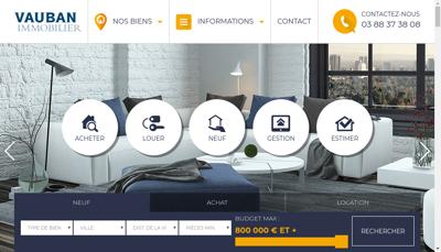 Capture d'écran du site de Vauban Immobilier