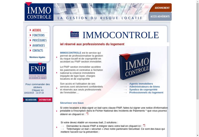 Capture d'écran du site de Immocontrole