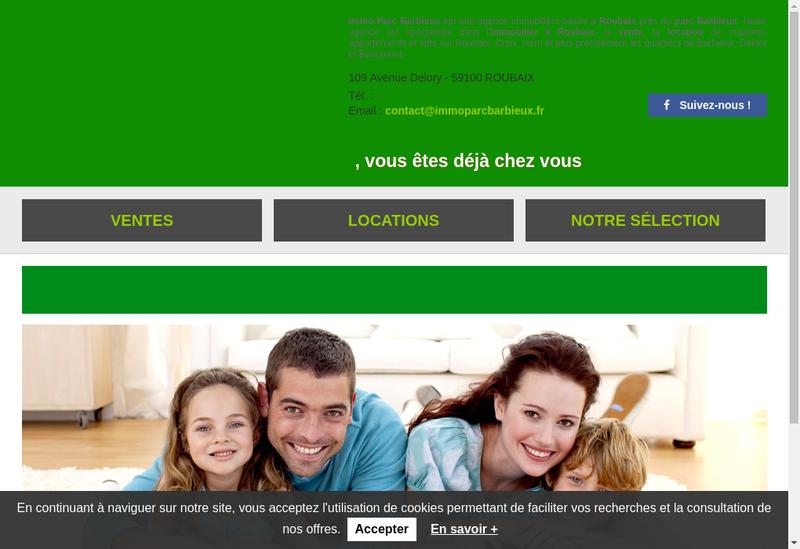 Capture d'écran du site de Immoparc Barbieux