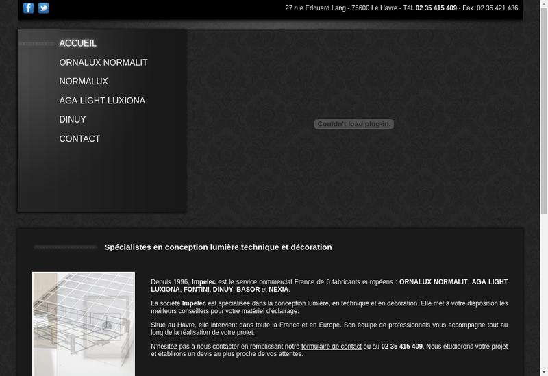 Capture d'écran du site de Impelec