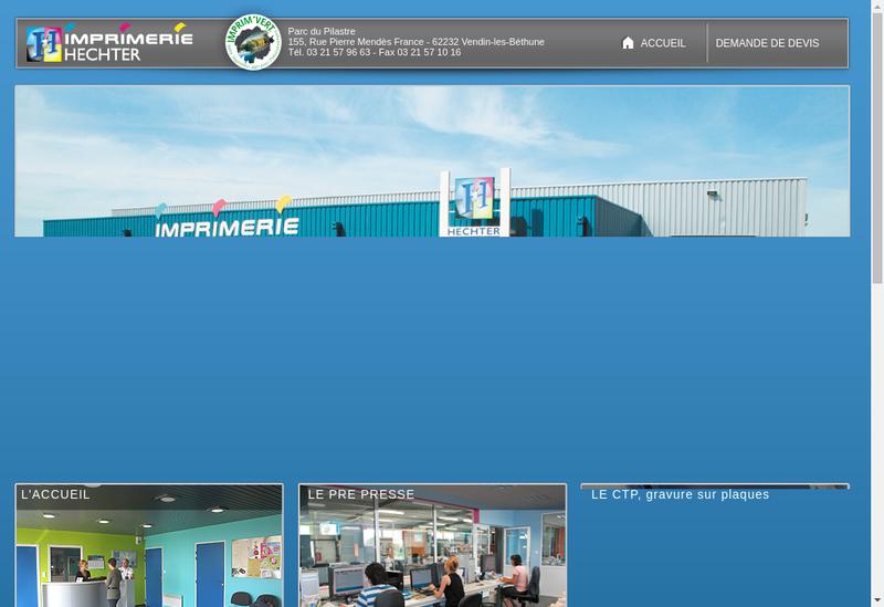 Capture d'écran du site de SARL Hechter