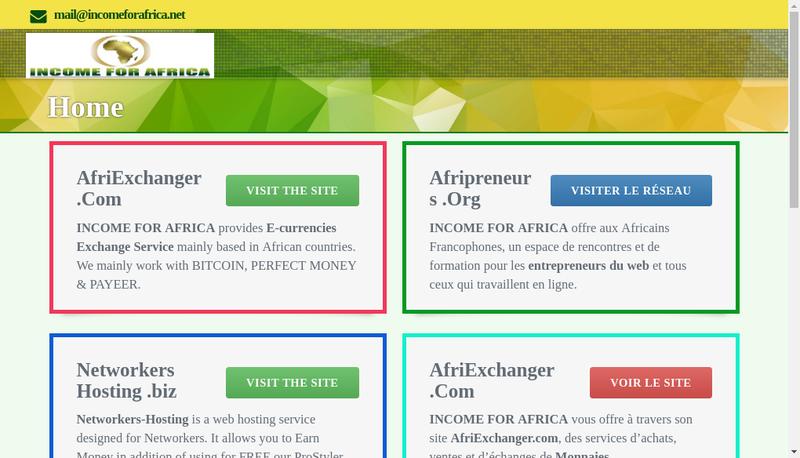 Capture d'écran du site de Afripay