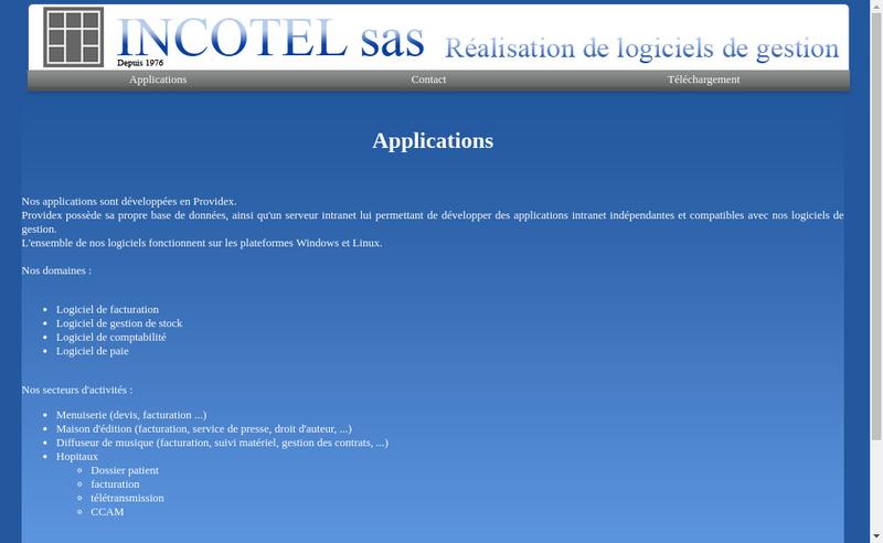 Capture d'écran du site de Incotel SAS