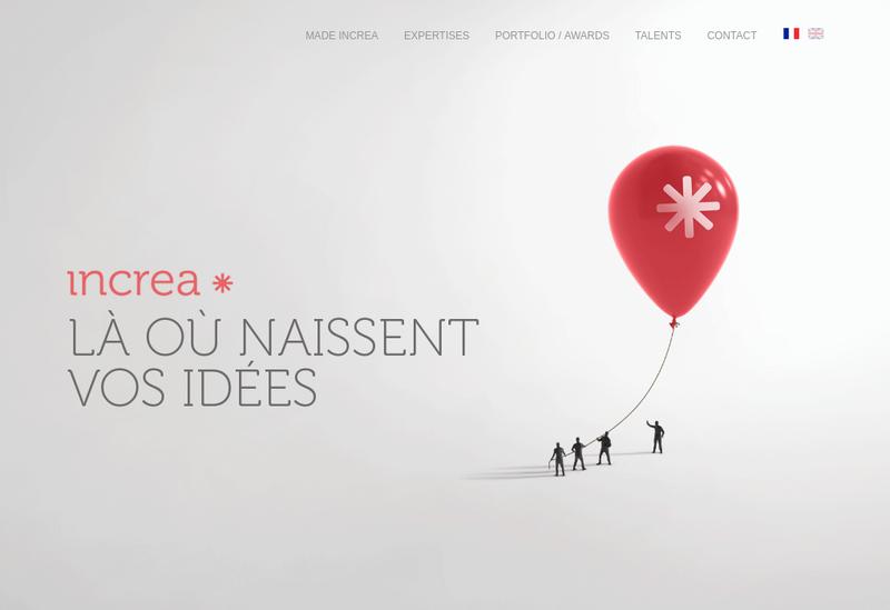 Capture d'écran du site de In Crea