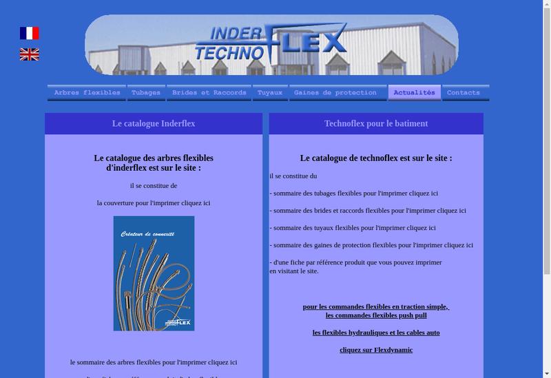 Capture d'écran du site de Inderflex Technoflex
