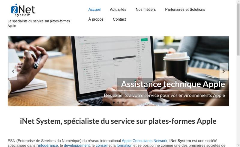 Capture d'écran du site de Inet System
