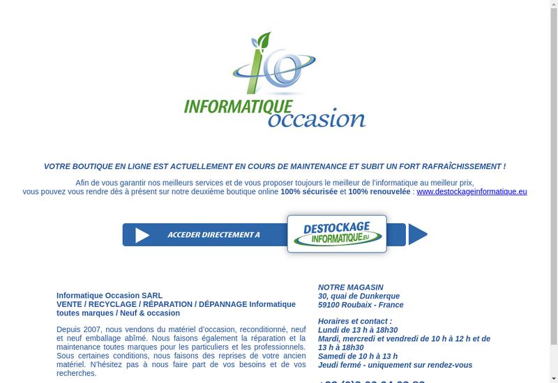 Capture d'écran du site de Informatique Occasion