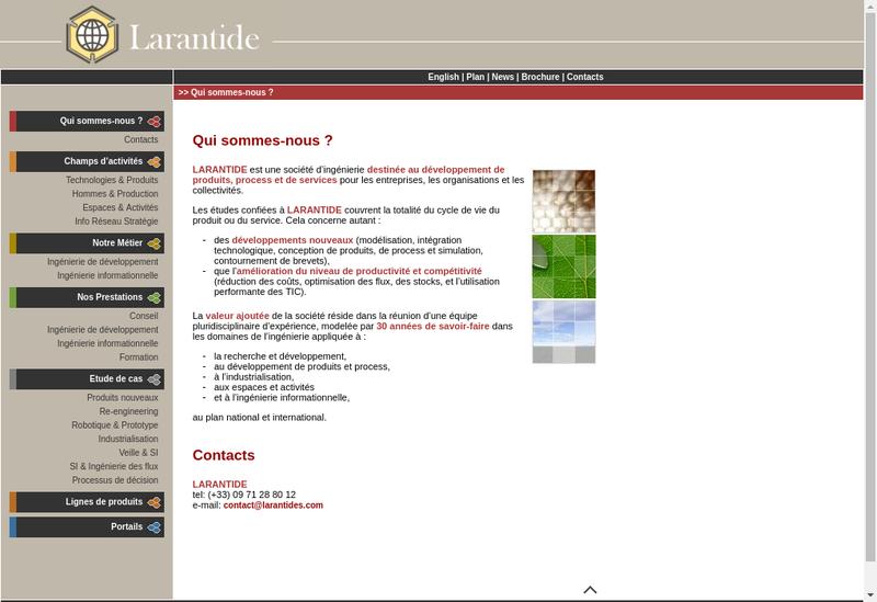 Capture d'écran du site de Larantide
