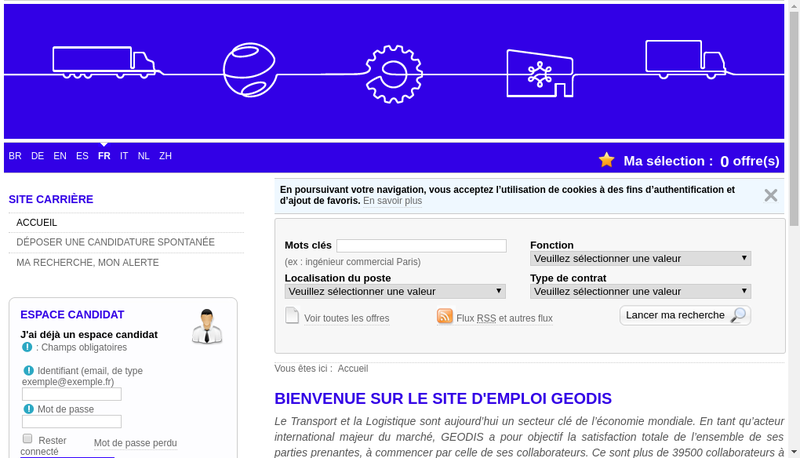 Capture d'écran du site de Geodis International