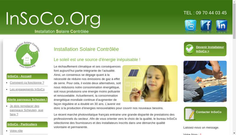 Capture d'écran du site de SARL Insoco